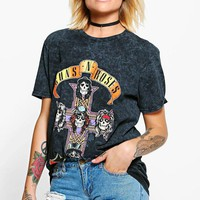 Layla Tonal Guns 'N' Roses Oversized Washed Band Tee
