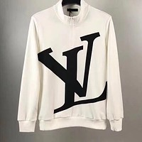 Louis Vuitton Popular Women Men Classic LV Letter Print Half Zipper Long Sleeve Sweater Top Sweatshirt