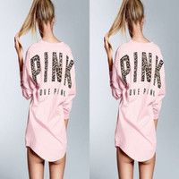 """Pink"" Victoria's Secret Leopard Letter Long Sleeve Blouse Top"
