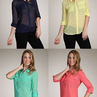 Solid Colors Sheer Chiffon Blouse Button Down Shirt Asym Hi-Low Hem Relaxed Top