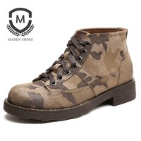 New Fashion Snow boots Leather Suede Camouflage Military Boots Retro Classic Men Winter boots men