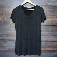 Final Sale - POL BASIC - Vintage Acid Wash V Neck T-Shirt - More Colors