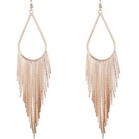 Gold Metal Long Tassel Drop Earrings