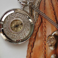 Silver Color Necklace Pendant Silver Pocket by Azuraccessories