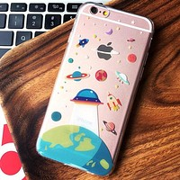 Cartoon Cute UFO Astronaut Spaceship iPhone 7 7 Plus + iPhone 6 6s Plus Case