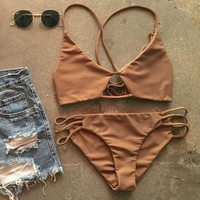 Strappy Bikini Set Retro Swimsuit Swimwear
