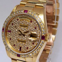 Rolex Day-Date President 18k Yellow Gold Diamond/Ruby Watch Box/Papers 18238