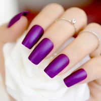 24pcs Purple Color Artificial Press On Nails Medium Square Matte Design Fake Nail Lady Daily Wear without Glue Sticker 258M
