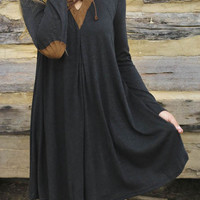 Black Contrast Laced V-neck Elbow Patch Plain Dress