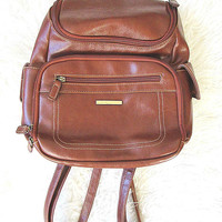 Vintage 90's Large Brown Faux Leather Mini Backpack Purse
