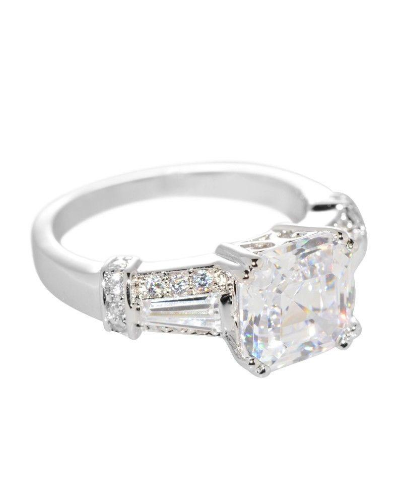 Image of Sterling Silver Solitaire Cubic Zirconia Princess Cut Square CZ Ring - 8mm
