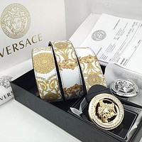 Versace hot sale color matching printed Medusa buckle belt for men and women temperament