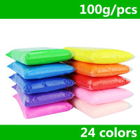 Retail 100g bag 24 colors DIY safe and nontoxic Malleable Fimo Polymer Clay playdough Soft Power toys