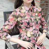 Gorgeous Vintage Floral Slim Blouse from CrazyPomelo