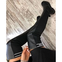 Fendi Logo-jacquard Stretch-knit And Leather Over-the-knee Boots Shoes