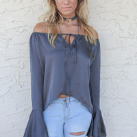 Nightfall Soot Bell Sleeved Satin Top