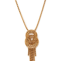 FOREVER 21 Knotted Pendant Necklace Gold One