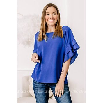 Don't Ruffle Your Feathers Top | Cobalt Blue