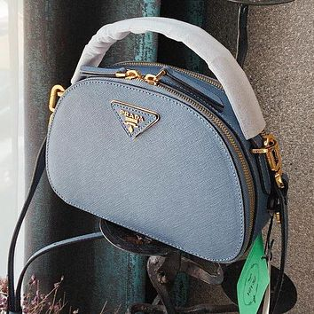 PRADA Popular Women Leather Handbag Tote Shoulder Bag Crossbody Satchel Blue
