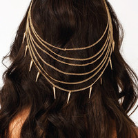 Sweet-And-Spiky-Chain-Hair-Brooch GOLD SILVER - GoJane.com