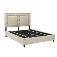 Holloway Tan Upholstered Queen Square Platform Bed