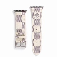 Designer White Damier Apple Watch Leather Bands