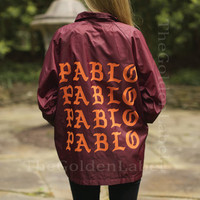 The Life of Pablo Coaches Jacket Kanye West Yeezy TLOP merch I feel like pablo pablo pablo Maroon