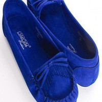 ROYAL BLUE FAUX SUEDE MOCCASINS WITH BOW ACCENT AND FRINGE