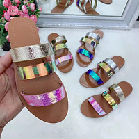 New large size women's shoes, fashionable colorful slippers, flat shoes