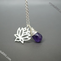 Twee pure and simple amethyst lotus sterling silver necklace