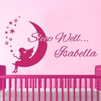 Wall Decal Name Girls Princess Moon and Stars Sleep Well Vinyl Sticker Personalized Custom Name Wall Decals Nursery Baby Decor AN674