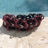 Zippy Chain Bracelet Rainbow loom Burgundy Black Bracelet Rainbow Loom Bracelet Rainbow Loom Accessories Lanyard Gifts for her Gifts for Him