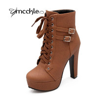 MCCKLE  Autumn Winter Women Ankle Boots high heels lace up leather double buckle platform short booties new black X0761