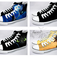 Custom Painted Hi Top Canvas How To Train Your Dragon Shoes