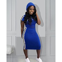 FENDI Summer Newest Women Short Sleeve Hooded Top Skirt Set Two Piece Blue