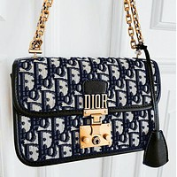 Dior Oblique black and navy rock and roll metal logo bag lock embellishment high canvas wide shoulder strap