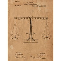 Scales of Justice from 1885 Patent Art Print - Patent Poster - Law Student - Law School - Law Office Wall Art - Justice - Judge