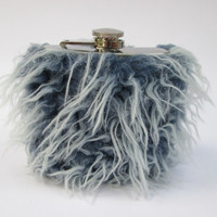 Unique Boho Chic Hip Flask for Women, Funny Indie Wedding Gift, INCLUDING FLASK, 21st Birthday, Something Blue Shaggy Faux Fur, Bridesmaid