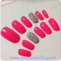 Pink Barbie Rhinestones Ab Press On nails False nails custom nails Fake nails Gel nail art