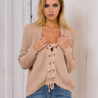 Lace - up Sweater Ladies' cross Sweater
