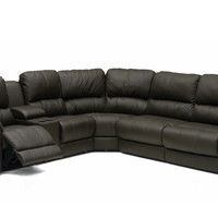 Large Dual Reclining True Sectional Leather Sofa with Console Benson by Palliser