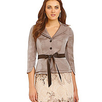 Adrianna Papell Double Tier Shimmer Jacket - Toast