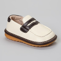 Cream & Brown Squeaker Loafer   something special every day