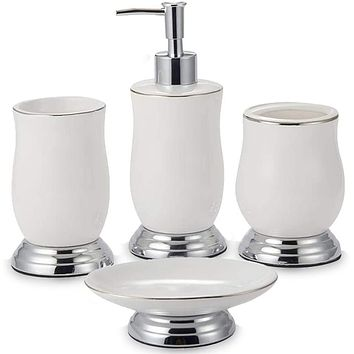 CAA'S Bathroom Accessories Set Ceramic 4 Pieces Bath Ensemble