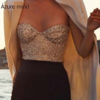 Brand new top fashion 2016 women sequin bra top sexy strapless cute crop tops Short Camis Cropped Bustier Top gold