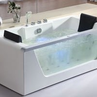 EAGO  AM196 6-Feet Left Drain Rectangular Corner Whirlpool Bath Tub with Fixtures