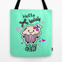 Hello Lovely Cartoon Cupcake.  Tote Bag by Kristy Patterson Design
