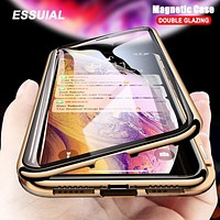 Popular Clear Double Sided Glass Magnetic Adsorption Case For iPhone