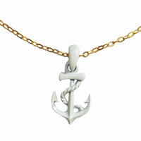 Captain of the Ship White Anchor Necklace