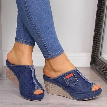 New Slippers Women's Sandals Denim Fish Mouth Sandals